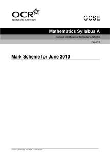 Preview of June 10-paper 3-GCSE Maths-mark scheme