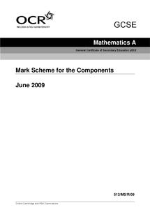 Preview of June 09-paper 3&4-GCSE Maths-mark scheme