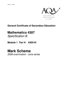 Preview of June 2008 AQA maths mark scheme