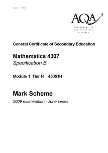 Preview of June 2009 AQA maths mark scheme