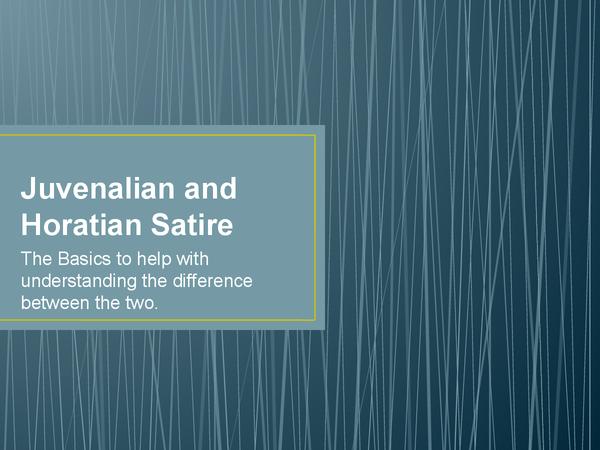 Preview of Juvenalian and Horatian Satire