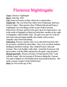 Preview of Katies Florence Nigthingale Piece