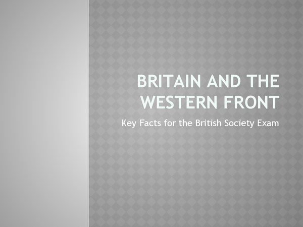 Preview of Key Facts for the Western Front