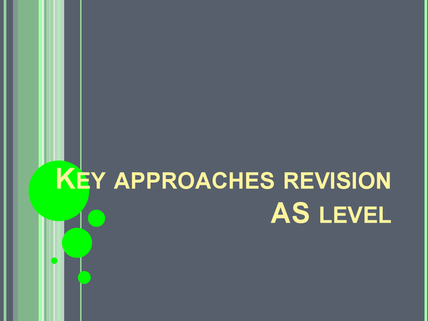 Preview of Key approaches revison for psyb1