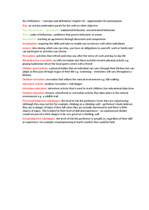 Preview of key definitions - AQA - opportunities for participation - chapter 10 in the book