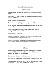 Preview of Key Dorian Gray Themes and Quotes for OCR AS English Literature