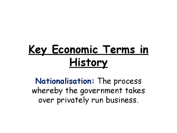 Preview of Key Economic Terms in History