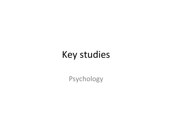 Preview of Key studies for AQA psychology AS