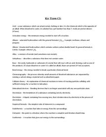 Preview of Key Terms Chemistry Unit 3 - AQA
