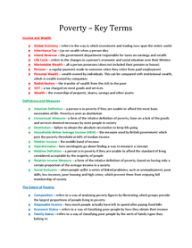 Preview of Key Terms - Poverty