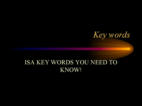 Preview of Key words for ISAs