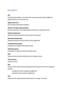 Preview of Keywords for AS economics unit 1 Edexcel