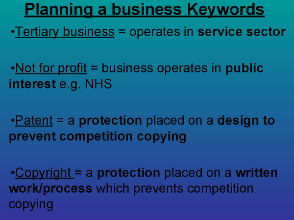 Preview of Keywords (Planning a business) AQA - new