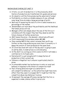 Preview of Knowledge check list unit 3 economics.