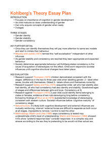 Preview of Kohlberg Essay Plan