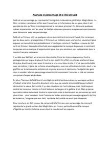 Preview of La Haine - Analysez le personnage et le rôle de Saïd