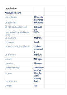 Preview of La Pollution - Vocab