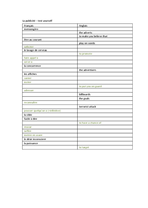 Preview of La publicite - key voacb self quiz