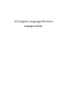 Preview of Language & Gender general revision