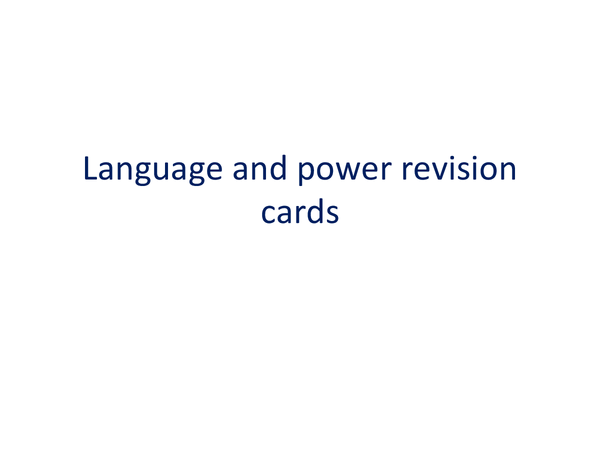 Preview of Language and Power revison cards