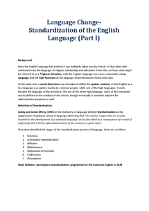Preview of Language Change- Standardization of the English Language (Part I)