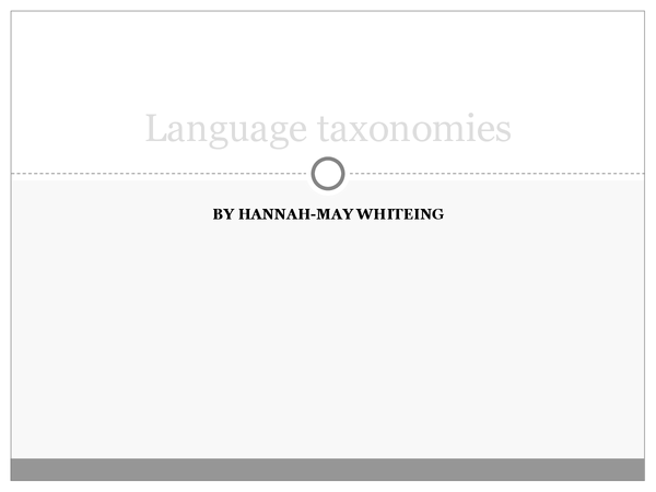 Preview of Language taxonomies