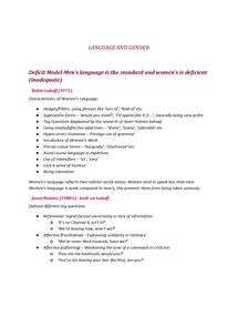 Preview of Language Variation- Language and Gender theorists
