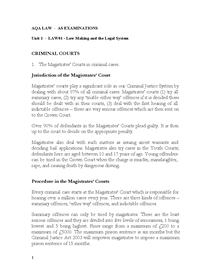 Preview of LAW01 Criminal Courts for AS AQA