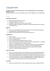 Preview of Law | Unit 1 | Section B - Lay Persons (AQA)