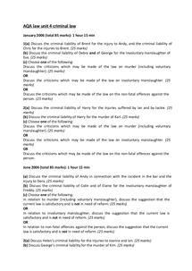 Preview of Law unit 3: criminal law exam questions