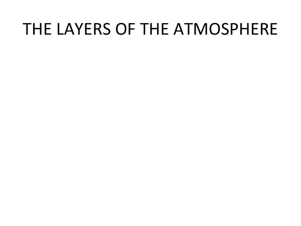 Preview of Layers of the Atmosphere
