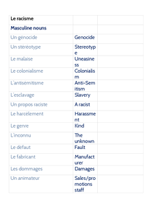 Preview of Le Racisme - vocab