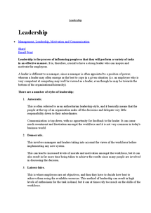 Preview of leadership