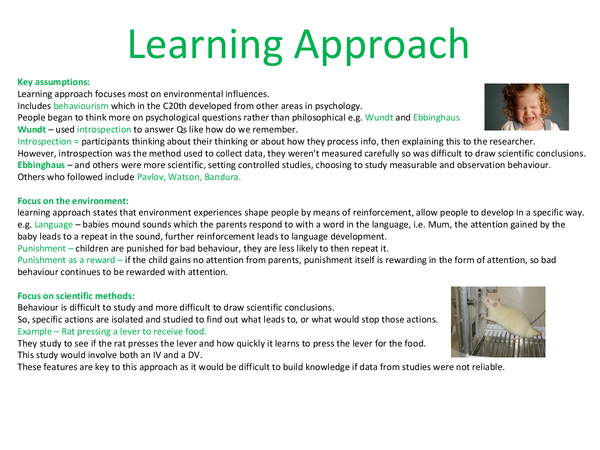 Preview of Learning approach psychology complete notes