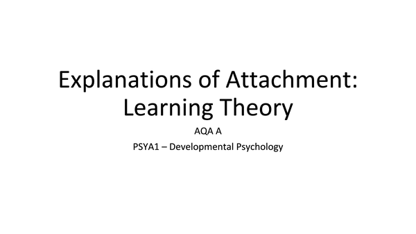 Preview of Learning Theory of Attachment