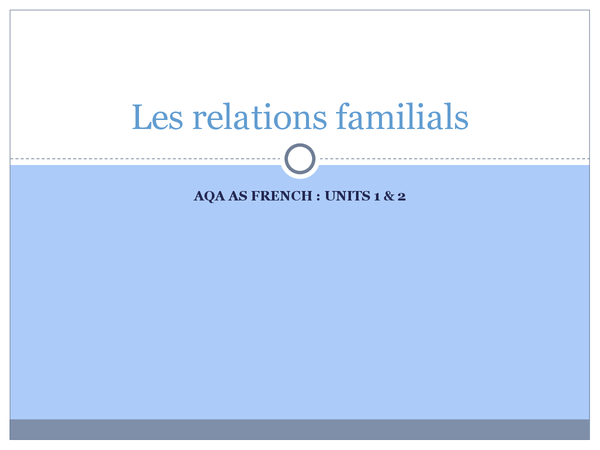 Preview of Les relations familials