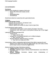 Preview of Lexis and Semantics (Child Language Acquisition)