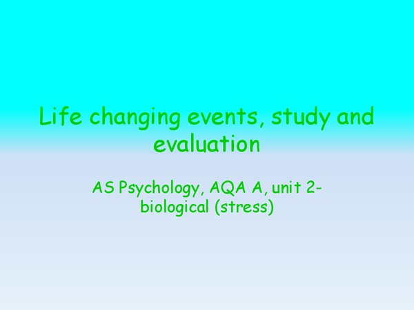 Preview of Life changing events, study and evaluation