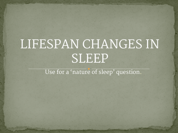 Preview of Lifespan changes in sleep