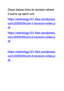 Preview of links to revision notes for biology