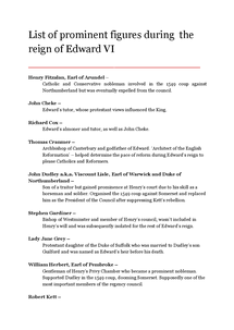 Preview of List of prominent figures during the reign of Edward VI