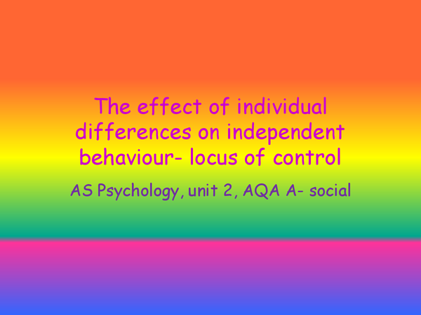 Preview of locus of control, studies and evaluations