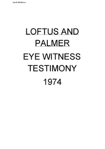 loftus and palmers aims and context loftus and palmers aims and context loftus was concerned with how subsequent information could affect an eyewitness testimony (ewt) which is a legal term .