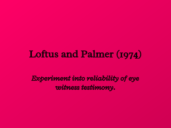 Preview of Loftus and Palmer 1974