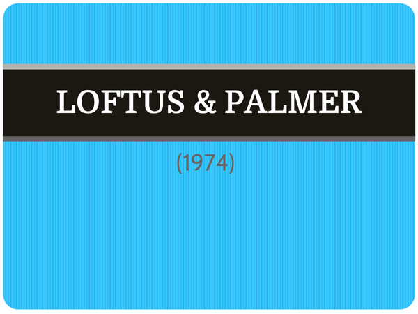 Preview of Loftus & Palmer (1974) - AS Core Study
