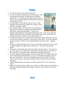 Preview of quot lord of the flies quot ralph and jack character revision