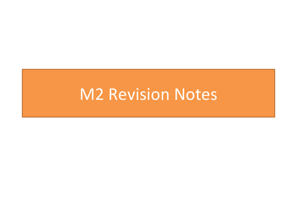 Preview of M2 Revision Notes