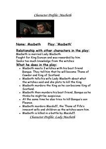 Preview of Macbeth-Chahracter Profile