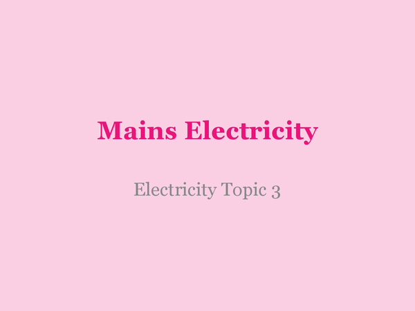 Preview of Mains Electricity