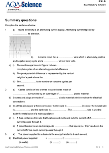 Preview of Mains Electricity AQA Physics Summary Sheet